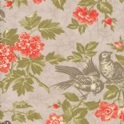 Moda Quill by 3 Sisters - 5590 - Bird Toile Floral on Grey  - 44151 12 - Cotton Fabric